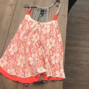 Orange loose tank top